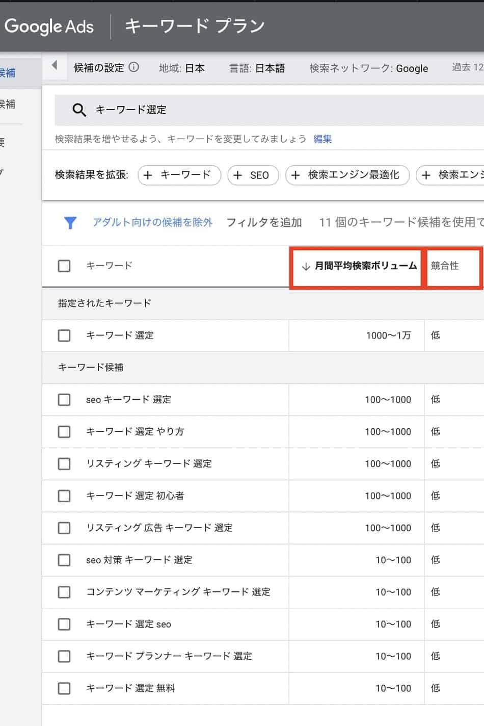 キーワード選定でのGoogle Keyword Plannerの使い方と検索ボリュームの調べ方