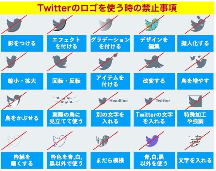 Twitterのロゴを使う時のガイドラインと禁止事項
